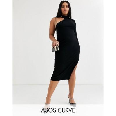 エイソス ドレス 大きいサイズ レディース ASOS DESIGN Curve one sleeve knit midi dress エイソス ASOS ブラック 黒