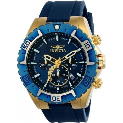 インビクタ 腕時計 メンズ用 アビエイター Invicta Men's Aviator Stainless Steel Quartz Watch with Silicone Strap, Blue, Black 26 (Model: 22525)