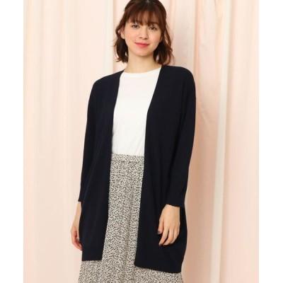 Couture Brooch/クチュールブローチ スカラップ袖ロングカーディガン ネイビー(093) 38(M)