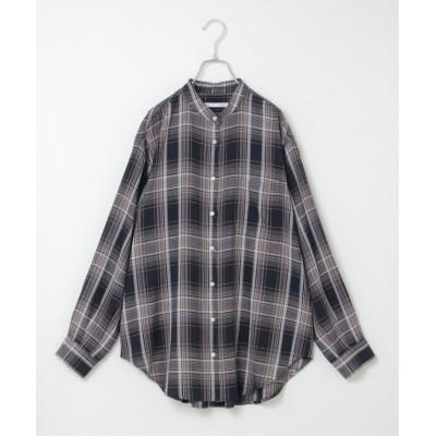 (ikka/イッカ)ノルマンディリネンバンドカラーシャツ/レディース ネイビー