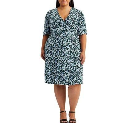 ラルフローレン レディース ワンピース トップス Lauren By Ralph Lauren Plus Size Floral Short Sleeve A-Line V-Neck Tie Front Dress