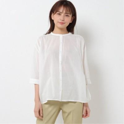 綿100%ゆったりシルエット◎バンドカラーシャツブラウス オフホワイト M-L