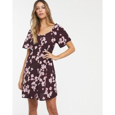 ヴェロモーダ レディース ワンピース トップス Vero Moda square neck floral button thru dress