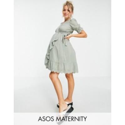 エイソス レディース ワンピース トップス ASOS DESIGN Maternity wrap mini dress with broderie trim in self check in sage green Sag