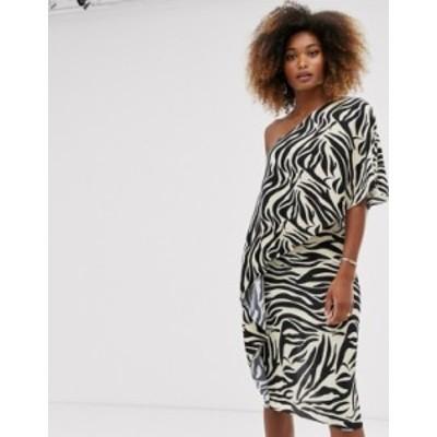 エイソス レディース ワンピース トップス ASOS DESIGN one shoulder plisse midi dress in animal print Multi
