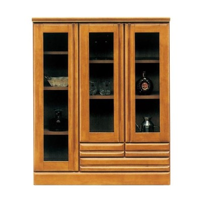 キャビネット サイドボード 戸棚 本棚 食器棚 ジェロ 幅90cm 高さ110cm ライトブラウン ガラスキャビネット 収納棚 棚 カップボード リビングボード