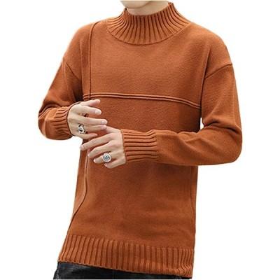 [フラップカッシュ] ハイネック ニット セーター 長袖 無地 厚手 シンプル ファッション 裏起毛 暖か 冬服 トップス ゴルフ すっきり お洒落