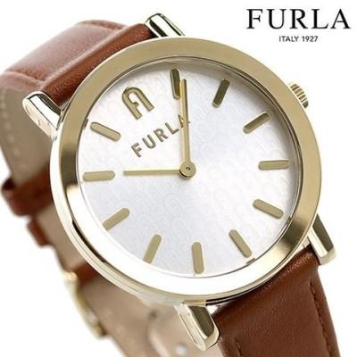 フルラ 時計 ミニマルシェイプ 38mm レディース 腕時計 WW00003002L2 FURLA シルバー×ブラウン 革ベルト