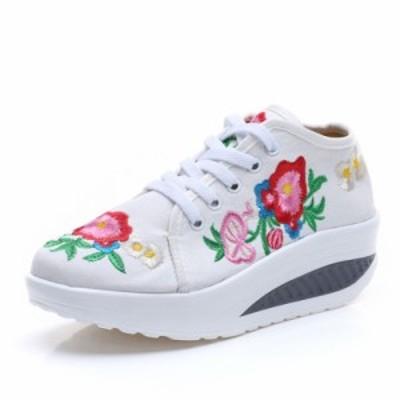 送料無料 春靴 レディース シューズ 靴 運動靴 カジュアルシューズ 痛くない 花刺繍
