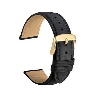 [WOCCI]時計ベルト14mm替えベルト ヴィンテージ 本革腕時計バンド 黒 ゴールドバックル