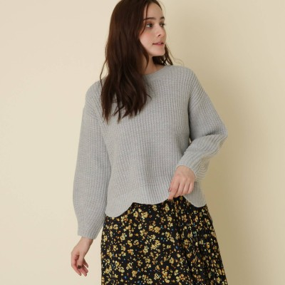 Couture Brooch(クチュールブローチ)/【WEB限定サイズ(LL)あり/手洗い可】ボリュームスリーブスカラッププルオーバー