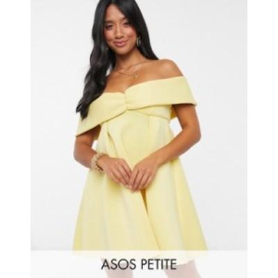 エイソス レディース ワンピース トップス ASOS DESIGN Petite exclusive bardot baby doll mini skater dress in lemon LEMON