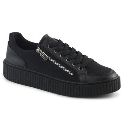 取寄せ靴 DEMONIA デモニア 厚底 スニーカー 黒 ブラック ビーガンレザー 大きいサイズあり