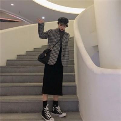 韓国ファッション チェック柄 スーツ コート イングランド トップ ヴィンテージ コート