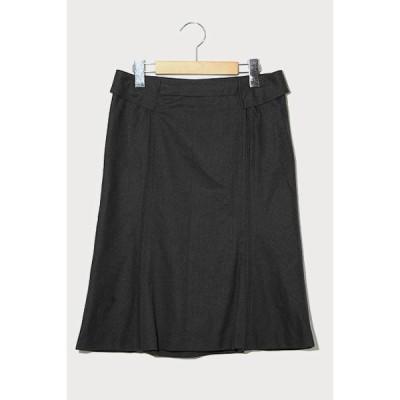 【中古】ET VOUS エヴー カシミヤブレンド セミフレア スカート 36 charcoal チャコール /◆☆ レディース 【ベクトル 古着】