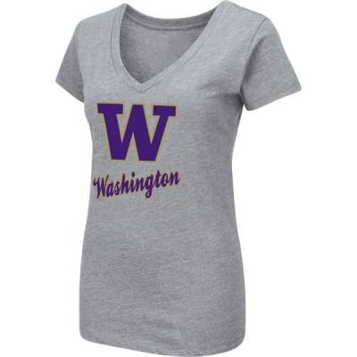 レディース スポーツリーグ アメリカ大学スポーツ Colosseum Women's Washington Huskies Grey Dual Blend V-Neck T-Shirt Tシャツ