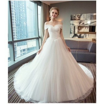 高品質 体型カバー 白 グローブ 結婚式 ウェディングドレス トレーン パニエ オフショルダー H063 ベール付 オーダーサイズ可
