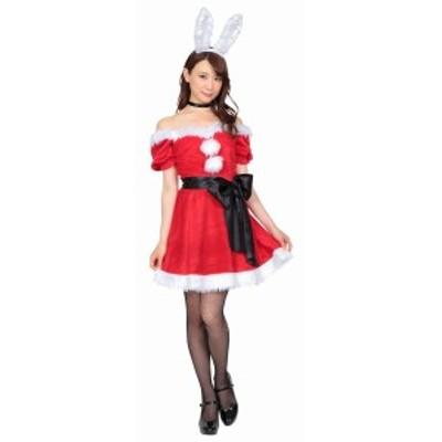 クリスマス コスプレ 2WAY バニー サンタ クリアストーン コスチューム 衣装 レディース