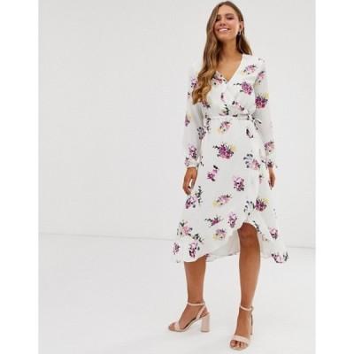 オアシス レディース ワンピース トップス Oasis midi wrap dress with long sleeves in white floral print