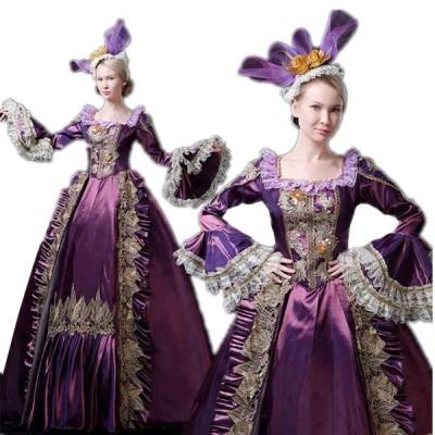 ロングドレス ヨーロッパ貴族の衣装 女性用 仮装 中世貴族風 フランス式 宮廷服 ぶどう色 コスチューム お姫様ドレス 学園祭 文化祭 舞踏会 ハロウィン