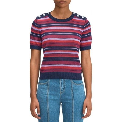 ケイト スペード Kate Spade New York レディース ニット・セーター トップス Striped Short Sleeve Sweater Interstellar Blue