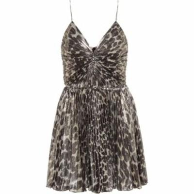 イヴ サンローラン Saint Laurent レディース ワンピース ワンピース・ドレス Leopard-print silk-blend minidress Taupe