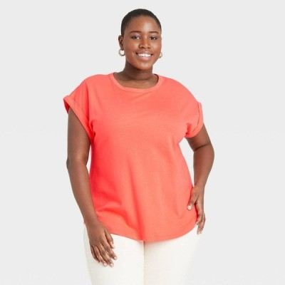 アヴァ&ヴィヴィ Ava & Viv レディース Tシャツ 大きいサイズ トップス Plus Size Round Neck Cuffed T-Shirt - Orange