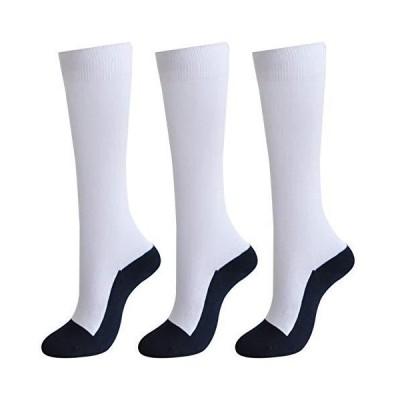 野球 アンダーソックス 無地 ホワイト 紺 3足セット つま先 かかと 足底 補強 14-024 (22~24cm)