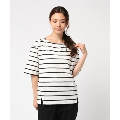 tシャツ Tシャツ 【LA COMFY / ラ・コンフィー】 チェーンボーダー 五分袖プルオーバー