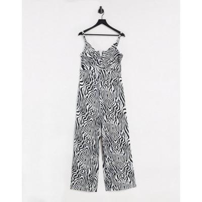 リクオリッシュ レディース ワンピース トップス Liquorish wide leg jumpsuit in zebra print Animal print