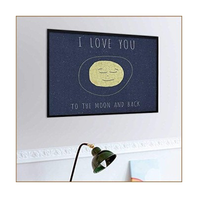 carmaxs I Love You Jigsaw Puzzle 1000 Piece, Happy Faced Sleeping Moon Cozy Valentines Expression Peaceful Image, Cadet Blue Yellow【並行