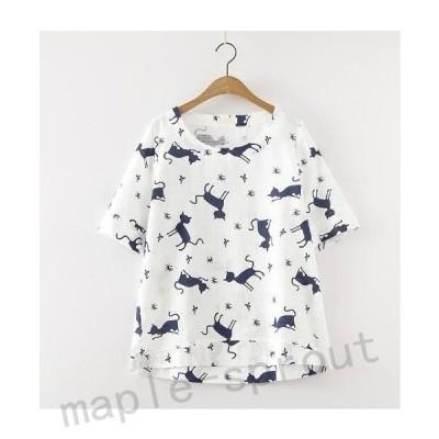 半袖Tシャツ/カットソーTシャツ森ガール風カジュアルトップス可愛い猫柄エレガント きれいめ総柄TシャツT-shirtティシャツ