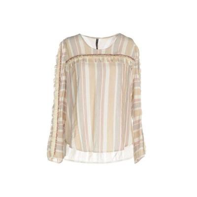 MANILA GRACE ストライプ柄シャツ ファッション  レディースファッション  トップス  シャツ、ブラウス  長袖 ベージュ