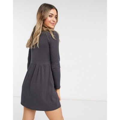 ニュールック レディース ワンピース トップス New Look cardigan style smock mini dress in gray Dark gray