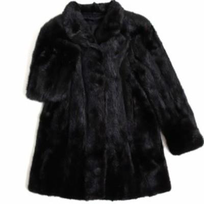 極美品▼MINK ミンク 逆毛 本毛皮コート ブラック 毛質艶やか・柔らか◎