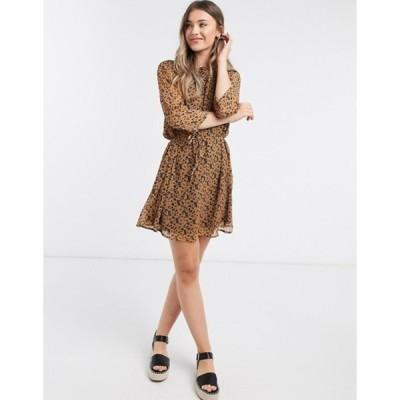 ジェイディーワイ レディース ワンピース トップス JDY jennifer chiffon sleeve skater dress in brown