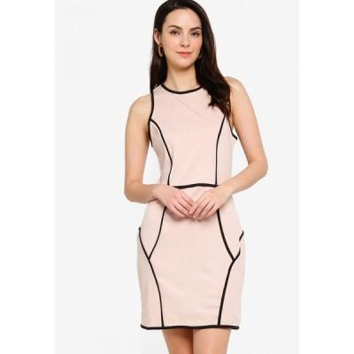 ザローラ ZALORA BASICS レディース ボディコンドレス ワンピース・ドレス Contrast Trim Bodycon Dress Nude/Black Trim