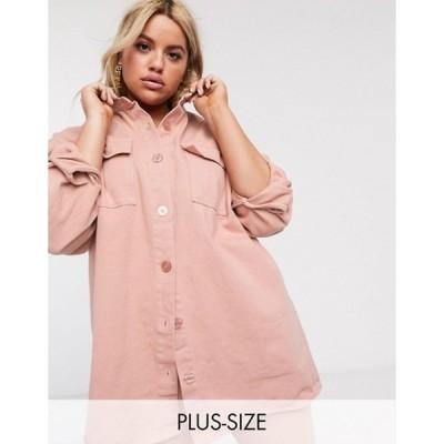 ミスガイデッド レディース シャツ トップス Missguided Plus oversized denim shirt in pink