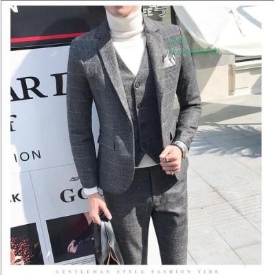 スリムスーツ 就活 二次会 卒業式 スリーピース 通勤 スーツ 二次会 メンズ 成人式 紳士服 チェク柄 メンズスーツ 結婚式 3ピーススーツ 入学式 ビジネススーツ