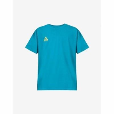 ナイキ NIKE ACG メンズ Tシャツ トップス Logo-embroidered cotton-jersey T-shirt Bright Spruce