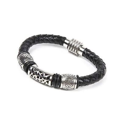 R-STYLE ワイルド で クール な ファッションに レザーの編み込みが美しい 黒革 本革 レザー ブレスレット (TYPE C)