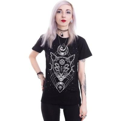 リスタイル Restyle レディース Tシャツ トップス - Galaxy Cat Black black