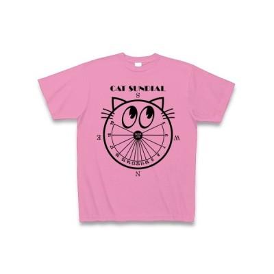 猫の日時計(北下タイプ・黒) Tシャツ(ピンク)