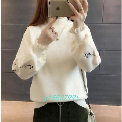 ニットセーターレディース刺繍ハイネック4色無地長袖大人ゆったり着やすいセーターパフスリーブ秋冬
