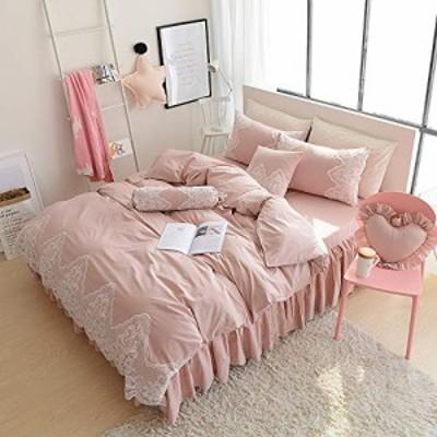 【送料無料】Ustide 姫系 布団カバー3点セット セミダブルサイズ コットン100% 掛ふとんカバー 170*210cm 可愛いフリル ベッドカバー 枕