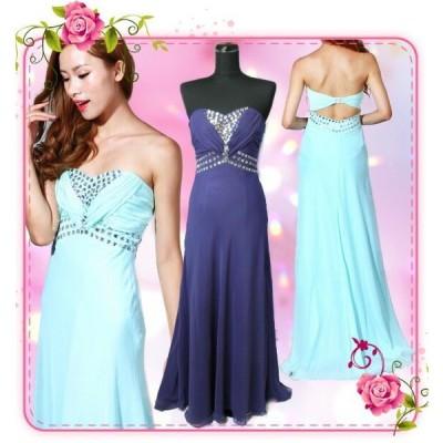 DressAngelo/ドレスキャバドレス/ナイトドレス/パーティードレス/ベアトップトレーンありビーズ刺繍ロングドレス[9539]