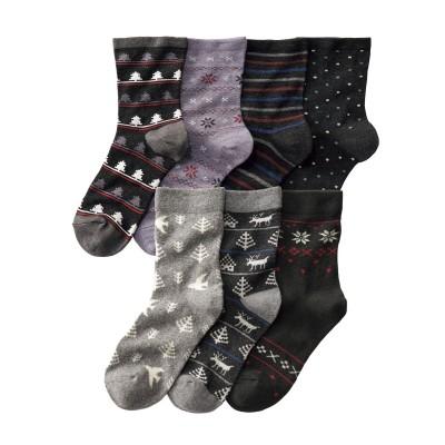 お買い得 福袋 あったか足口ゴムなしクルーソックス7足組(フリーサイズ) ショート・クルーソックス, Socks