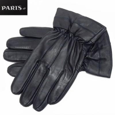 ◆手袋◆PARIS16e 羊革/シープスキン ネイビー メンズ グローブ メール便可 LAM-N03-NV