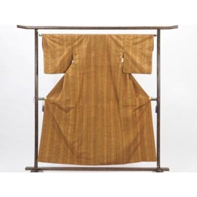 【中古】リサイクル紬 / 正絹金茶地縦縞袷紬着物 (古着 中古 紬 リサイクル品)