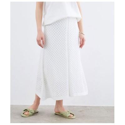 ROPE'/ロペ 【おうち服】【セットアップ対応】レース編みニットスカート ホワイト(10) 38